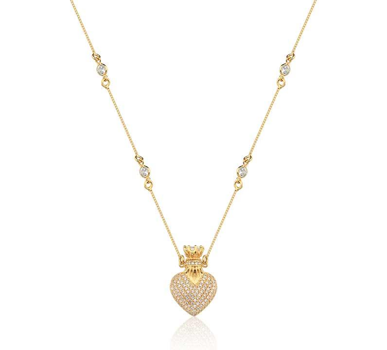 Loffie necklances collection loffie yellow gold plated pendant featured crystal zircon colar corao perfumeiro banhado a ouro amarelo cravejado de zircnias cristais e detalhes na corrente aloadofball Choice Image